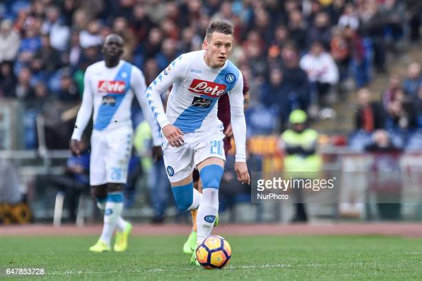 Piotr Zielinski of Napoli during the Serie A match between Roma and Napoli at Stadio Olimpico Rome Italy on 4 March 2017