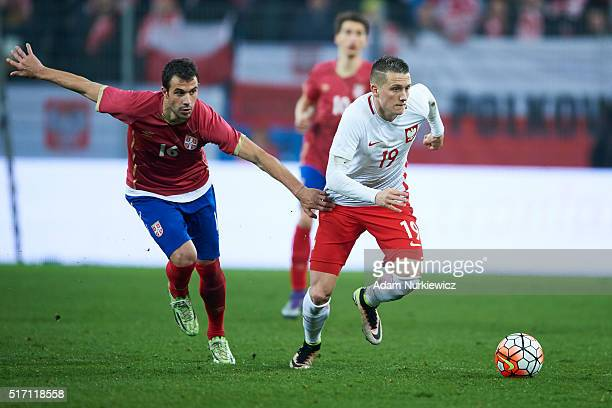 Piotr Zielinski of Poland fights for the ball with Luka Milivojevic of Serbia during the international friendly soccer match between Poland and...