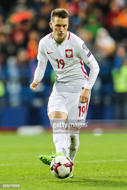 Piotr Zielinski of Poland in action during the FIFA World Cup 2018 qualification football match between Montenegro and Poland in Podgorica Montenegro...