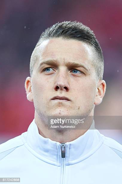Piotr Zielinski of Poland looks while national anthem during the international friendly soccer match between Poland and Serbia at the Inea Stadium on...