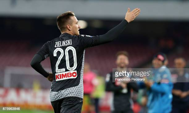 Piotr Zielinski of SSC Napoli celebrates after scoring 20 goal during the Serie A match between SSC Napoli and AC Milan at Stadio San Paolo on...