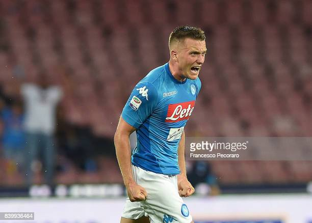 Piotr Zielinski of SSC Napoli celebrates after scoring goal 11 during the Serie A match between SSC Napoli and Atalanta BC at Stadio San Paolo on...