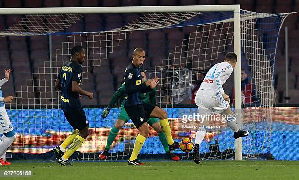 Piotr Zielinsky of Napoli scores the opening goal during the Serie A match between SSC Napoli and FC Internazionale at Stadio San Paolo on December 2...