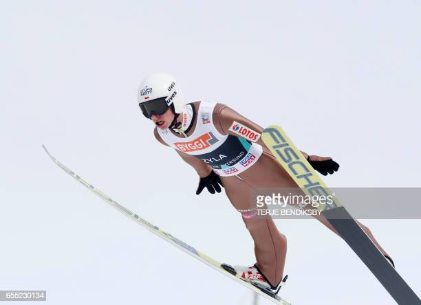Piotr Zyla from Poland soars during trial round of FIS Ski Jumping World Cup Men´s HS225 in Vikersund on March 19 2017 / AFP PHOTO / NTB Scanpix /...