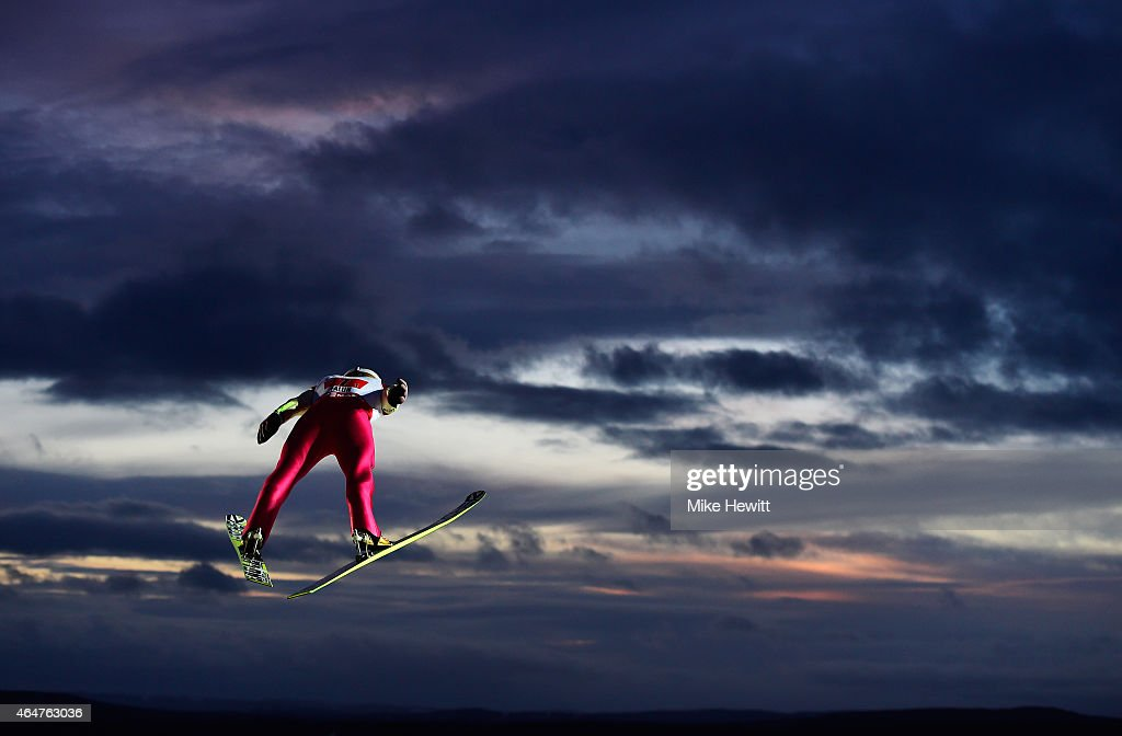 Piotr Zyla of Poland competes during the Men's Team HS134 Large Hill Ski Jumping during the FIS Nordic World Ski Championships at the Lugnet venue on...