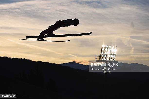 Piotr Zyla of Poland soars through the air during his competition jump on Day 2 of the 64th Four Hills Tournament event on December 29 2015 in...