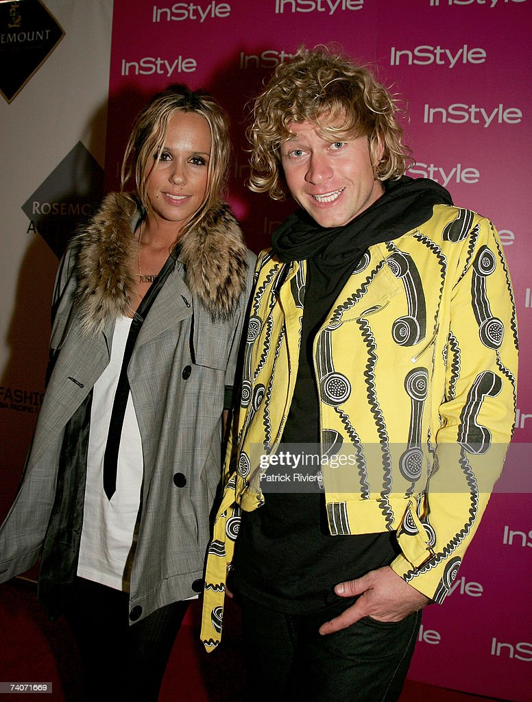 Pip Edwards and Dan Single of Ksubi attends the catwalk show by designer Alba Fan Club at the closing party on the fifth and final day of Rosemount...