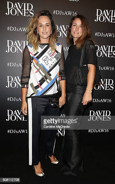 Pip Edwards and guest arrive ahead of the David Jones Autumn/Winter 2016 Fashion Launch at David Jones Elizabeth Street Store on February 3 2016 in...