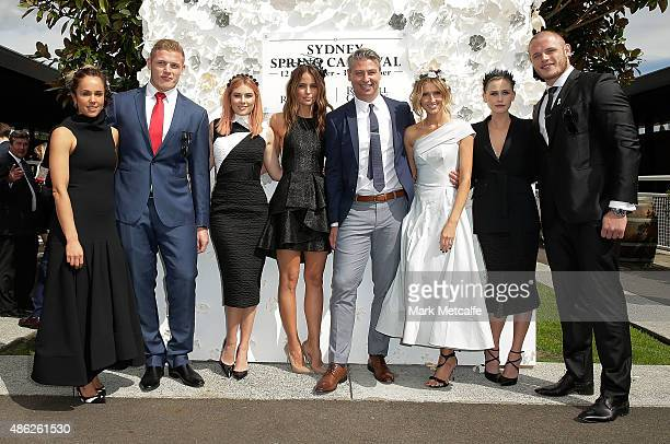 Pip Edwards George Burgess Carissa Walford Jodi Anasta Luke Ricketson Kate Waterhouse Anna Bamford and Thomas Burgess pose during the 2015 Sydney...