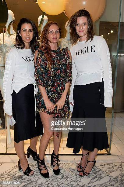 Pip Moroney and Monique Santos with Alice McCall during Vogue American Express Fashion's Night Out on September 1 2016 in Sydney Australia