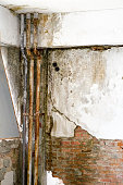 Pipes in Bad armature building, failures after earthquake 7 sep. 1999 Athens Greece