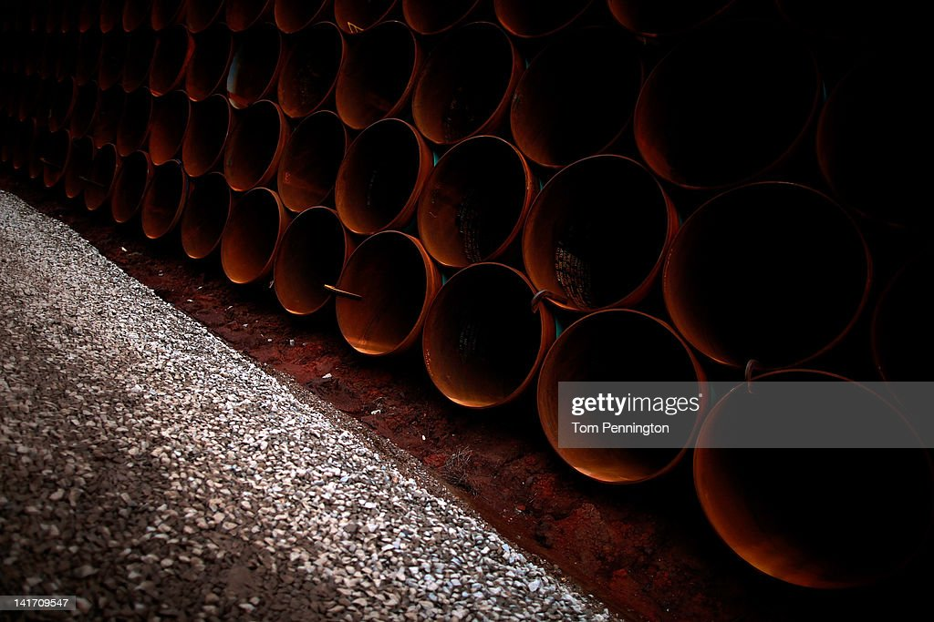 Pipe is stacked at the southern site of the Keystone XL pipeline on March 22, 2012 in Cushing, Oklahoma. U.S. President Barack Obama is pressing federal agencies to expedite the section of the Keystone XL pipeline between Oklahoma and the Gulf Coast.