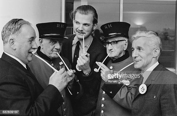 Pipe smokers at the Pipe Smoking Championships being held at the Royal Festival Hall London 5th January 1972