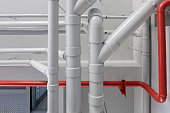 pipe system red and white in building