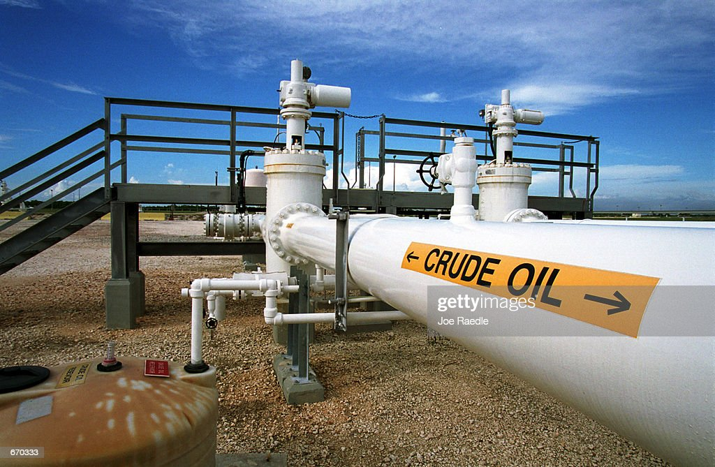 A pipeline carries oil September 20 2000 at the Federal Strategic Petroleum Reserve facility known as Big Hill near Beaumont Texas It is one of four...