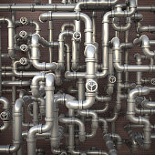 Fantasy Industrial 3d illustration. Maze made of steel pipes