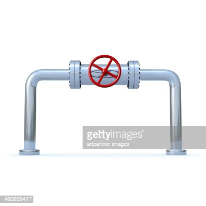 Pipeline with a red safety valve on white