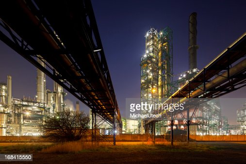 Pipelines And Refinery At Night
