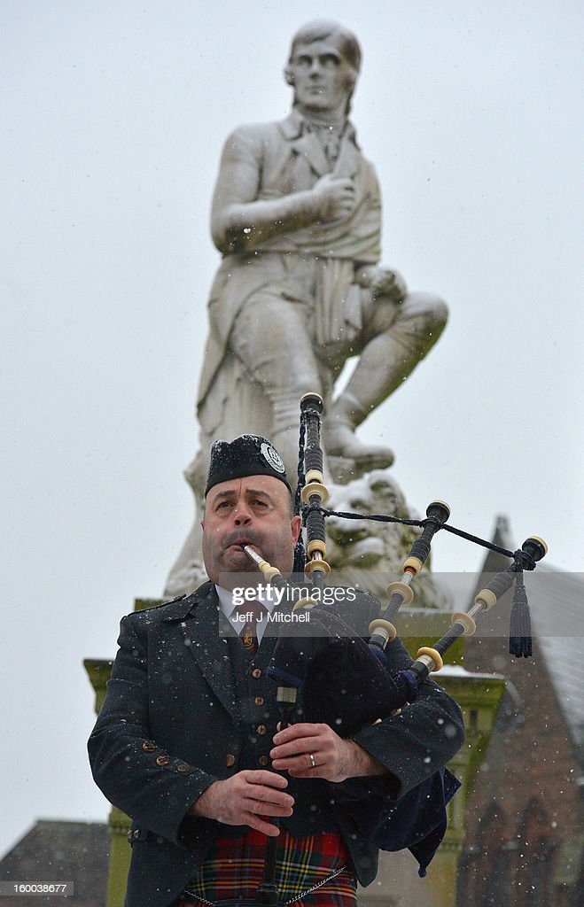 Piper Callum Watson, from Dumfries plays in front of the Robert Burns statue, as part of events taking place to celebrate the birth of poet Robert Burn on January 25, 2012 in Dumfries, Scotland. Burns suppers will be held today to commemorate the life of the poet Robert Burns, who was born on this day in 1759.