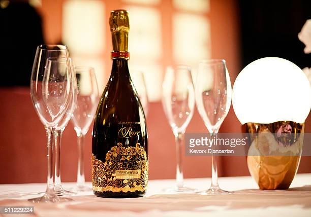 PiperHeidsieck Rare Millesime 2002 champagne is on display during the 88th Annual Academy Awards Governors Ball press preview at The Ray Dolby...