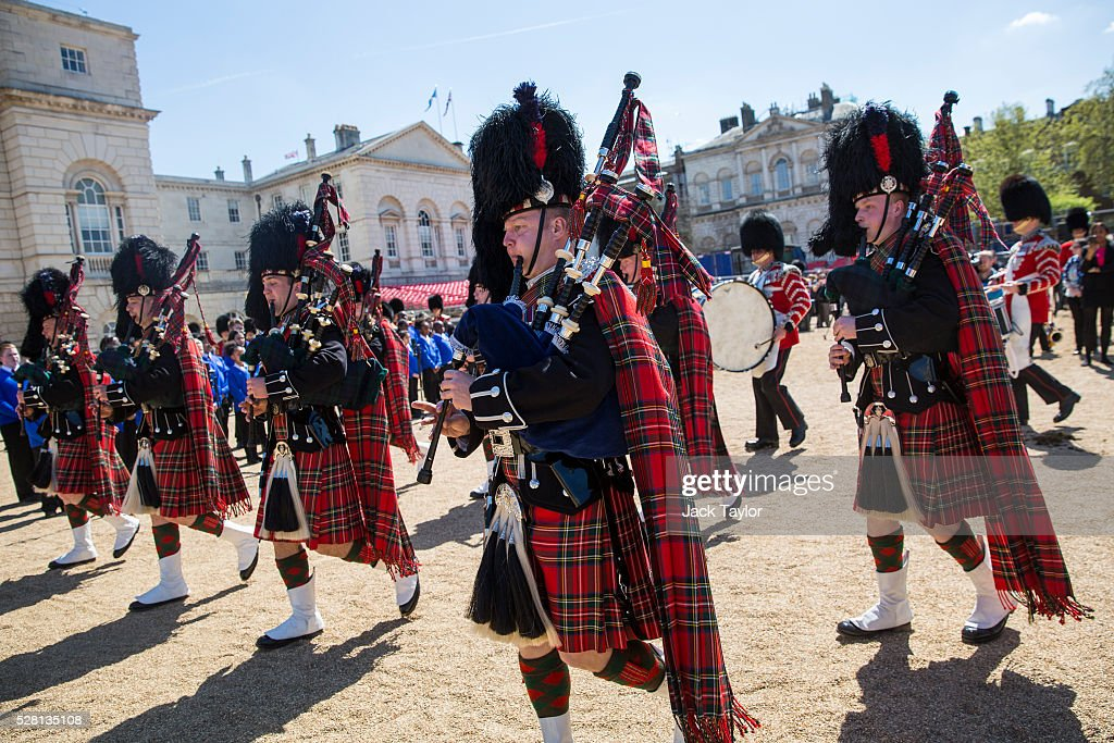 Pipers from the Scots Guards take part in an Act of Reverence featuring a set of 100-year-old bagpipes at Horse Guards Parade on May 4, 2016 in London, England. The bagpipes belonged to a Pipe Major of the Regiment of the Argyll and Sutherland Highlanders who died after becoming ill in the trenches at the Battle of the Somme. The bagpipes were brought to Horse Guards Parade today for a performance to launch the Household Division's Beating Retreat concerts, which feature military drills, music and fireworks, taking place on the 8th and 9th of June.