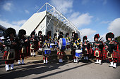 Pipers perform outside the stadium prior to the 2015 Rugby World Cup Pool B match between Scotland and USA at Elland Road on September 27 2015 in...