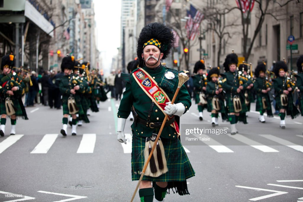 A pipes and drums band marches on Fifth Avenue during the 252nd annual St. Patrick's Day Parade March 16, 2013 in New York City. The parade honors the patron saint of Ireland and was held for the first time in New York on March 17, 1762, 14 years before the signing of the Declaration of Independence.