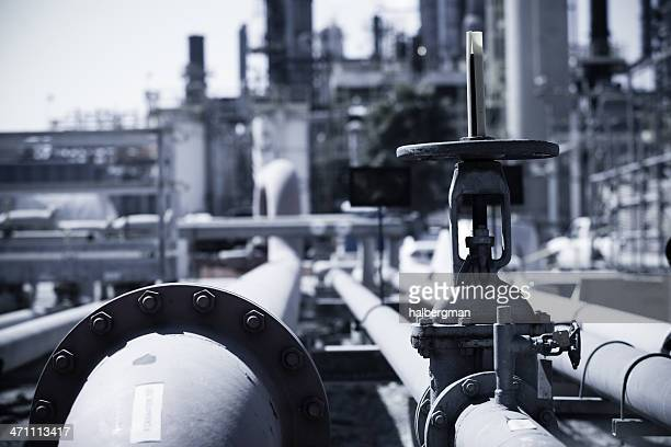 Pipes and Valves at an Oil Refinery