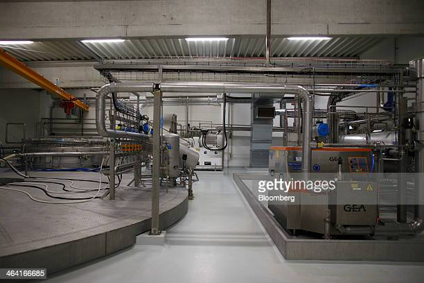 Pipes connect sections of yeast extract drying machinery manufactured by GEA Brewery Systems GmbH at the Royal DSM site in Delft Netherlands on...