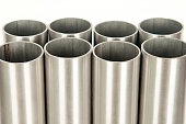 steel pipes on white background