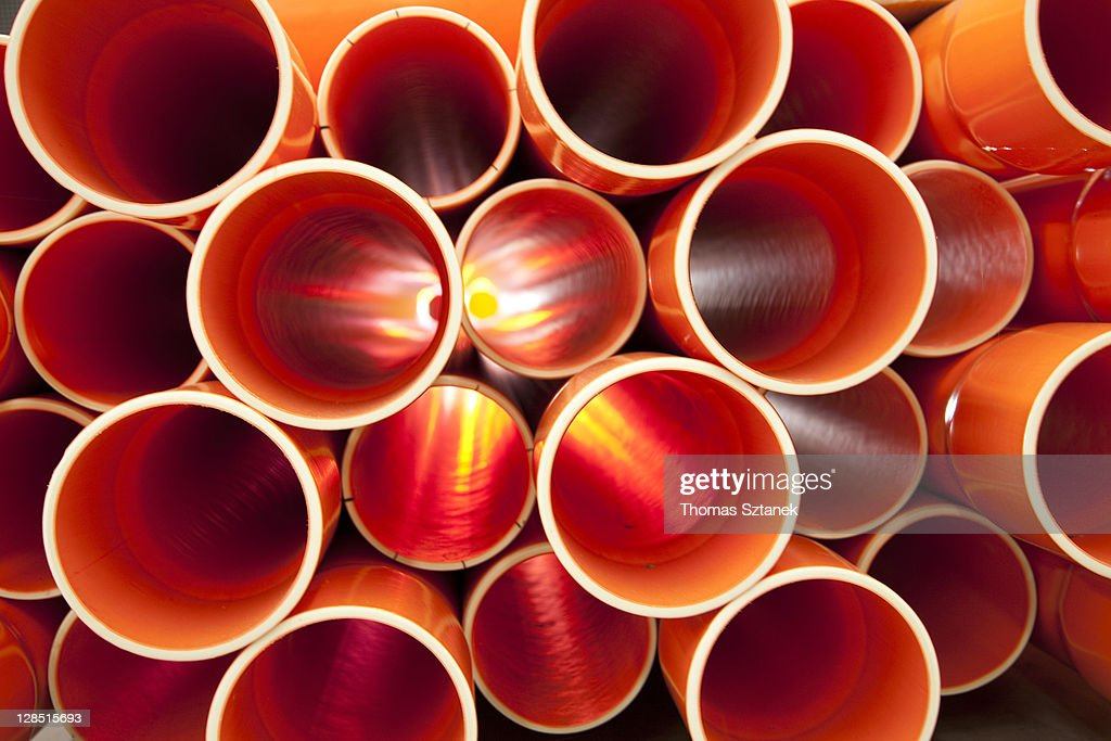 PVC pipes stacked in a construction site