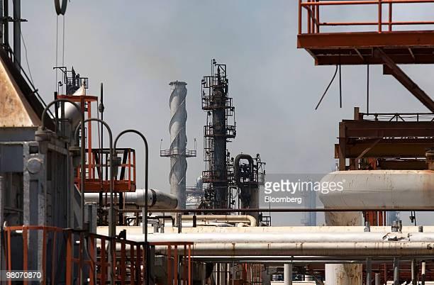Pipes travel though the Petroleos Mexicanos Miguel Hidalgo oil refinery in Tula de Allende Mexico on Thursday March 25 2010 Pemex Latin America's...