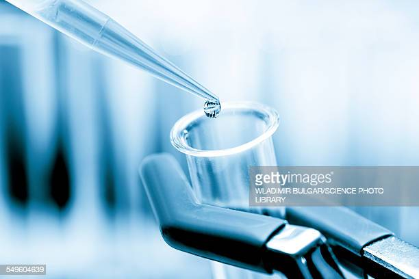 Pipette dropping liquid into a test tube