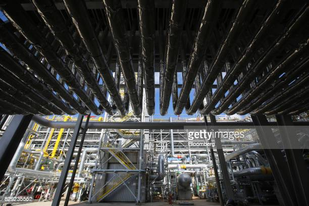 Pipework stands at a new ammonia production unit currently under testing at the PhosAgroCherepovets fertilizer plant operated by PhosAgro PJSC in...
