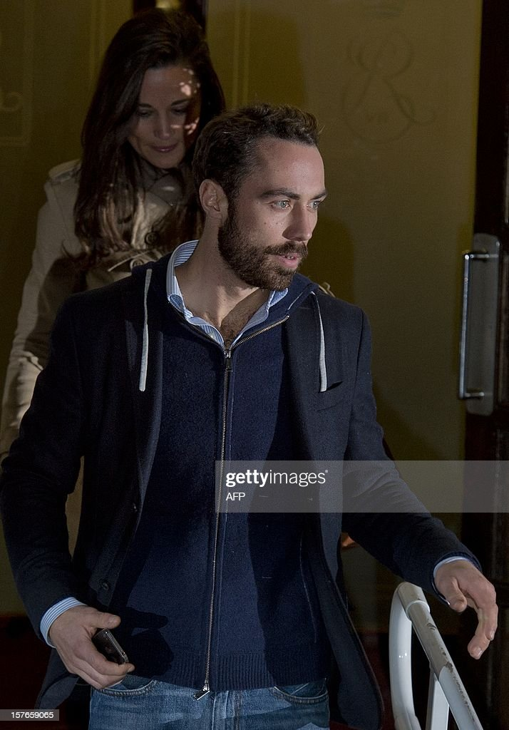 Pippa (L) and James Middleton, sister and brother of Catherine Duchess of Cambridge leave the King Edward VII hospital in central London, on December 5, 2012 where Catherine is resting after being admitted suffering severe morning sickness. The British hospital treating Prince William's pregnant wife Catherine admitted it released her private medical details after falling for a hoax call from an Australian radio station. AFP PHOTO / BEN STANSALL