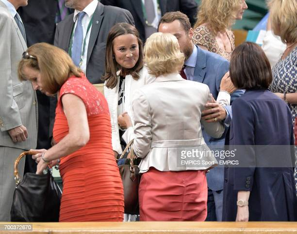 Pippa and James Middleton speak with Gill Brook as they leave the Royal Box on Centre Court