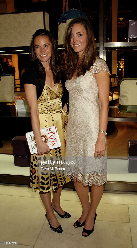 Pippa and Kate Middleton (R) attend the book launch party of The Young Stalin: The Adventurous Early Life Of The Dictator 1878-1917 by Simon Sebag Montefiore, at Asprey May 14, 2007 in London, England.