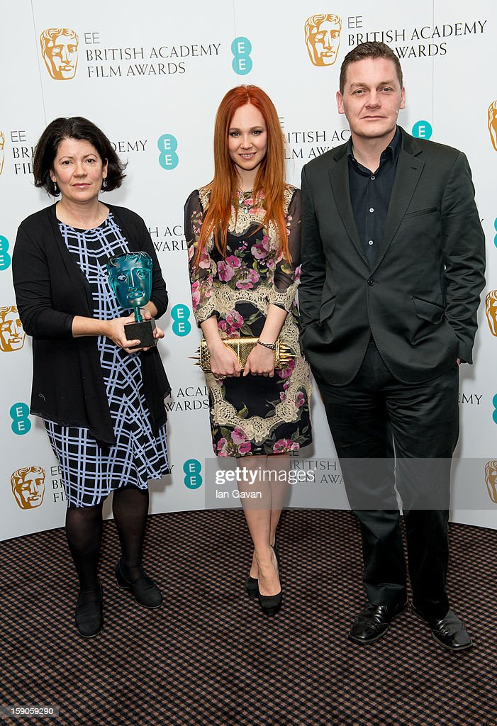 Pippa Harris, <a gi-track='captionPersonalityLinkClicked' href=/galleries/search?phrase=Juno+Temple&family=editorial&specificpeople=4692912 ng-click='$event.stopPropagation()'>Juno Temple</a> and Spencer McHugh attend a photocall to announce the nominations for the EE Rising Star Award at BAFTA headquarters on January 7, 2013 in London, England.