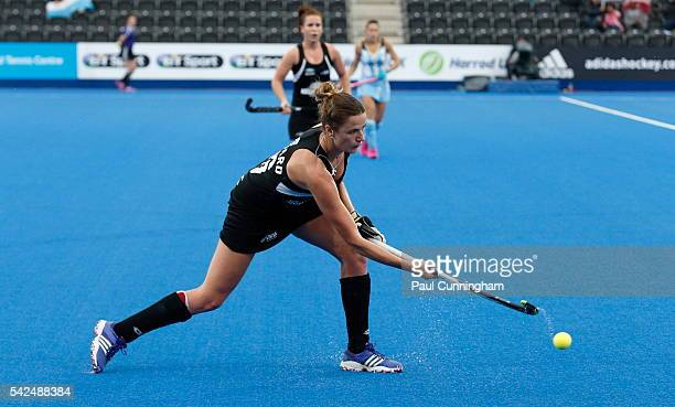 Pippa Hayward of New Zealand during the FIH Women's Hero Hockey Champions Trophy match between Argentina and New Zealand at Queen Elizabeth Olympic...