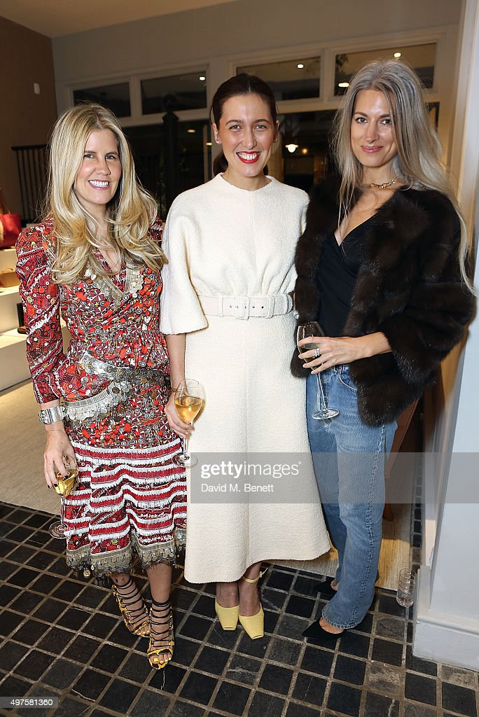 Pippa Holt, Emilia Wickstead and Sarah Harris attend the Moda Operandi Holiday dinner hosted by Lauren Santo Domingo on November 17, 2015 in London, England.