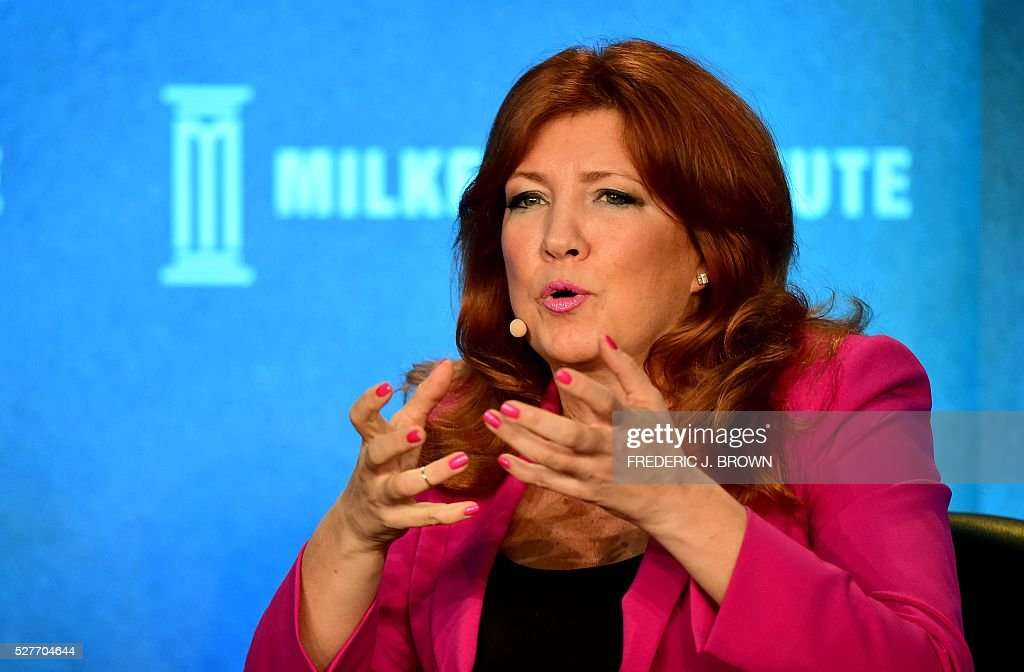 Pippa Malmgren, Founder, DRPM Group and Advisor, British Ministry of Defence, speaks on the panel 'Monetary Policy: Out of Ammunition?' at the 2016 Milken Institute Global Conference in Beverly Hills, California on May 3, 2016. / AFP / FREDERIC