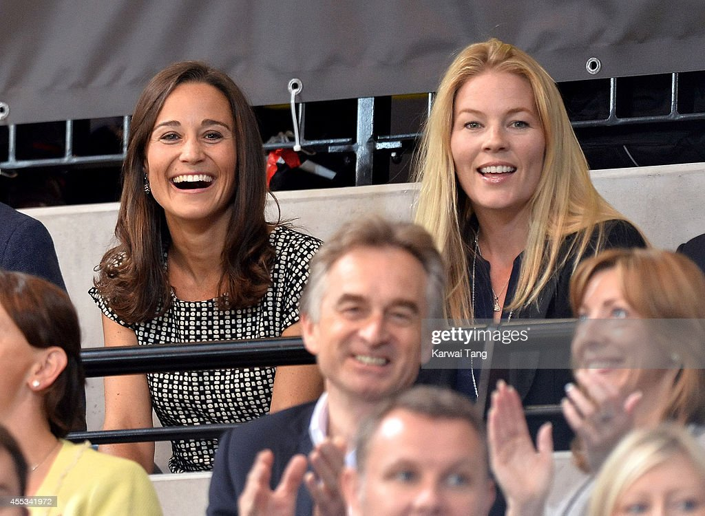 Pippa Middleton and Autumn Phillips attend an exhibition match of wheelchair rugby at the Invictus Games at Copperbox Queen Elizabeth Park on...