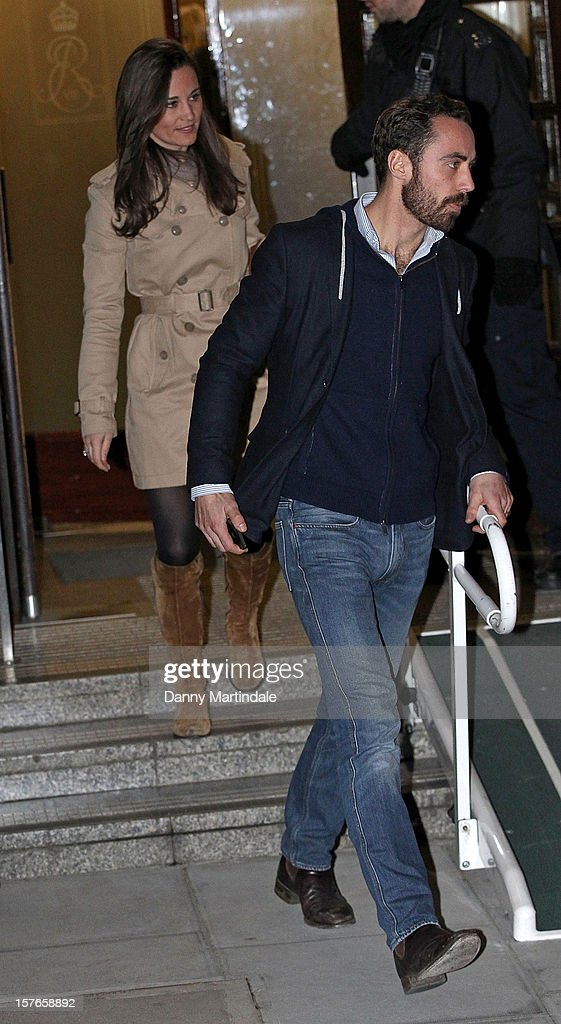 Pippa Middleton and brother James Middleton are seen leaving the King Edward VII Hospital on December 5, 2012 in London, England.