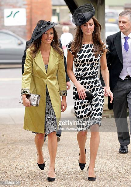 Pippa Middleton and Catherine Duchess of Cambridge attend the wedding of Sam WaleyCohen and Annabel Ballin at St Michael and All Angels church on...