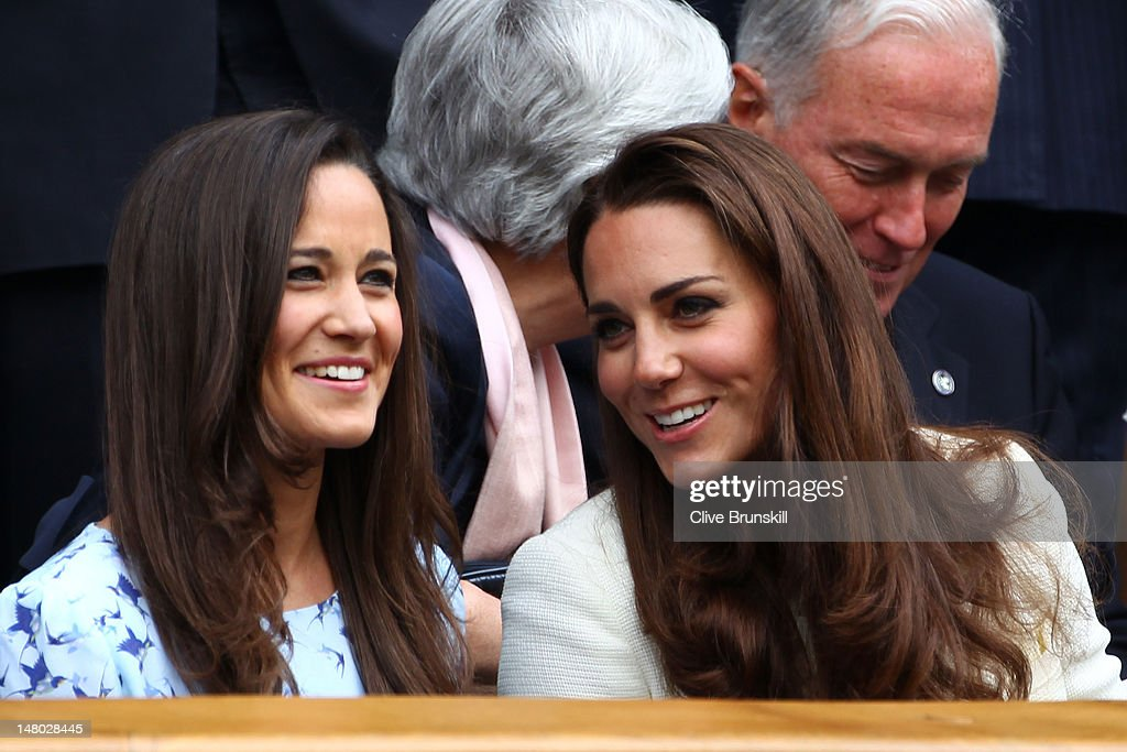 <a gi-track='captionPersonalityLinkClicked' href=/galleries/search?phrase=Pippa+Middleton&family=editorial&specificpeople=4289296 ng-click='$event.stopPropagation()'>Pippa Middleton</a> (L) and <a gi-track='captionPersonalityLinkClicked' href=/galleries/search?phrase=Catherine+-+Duchesse+de+Cambridge&family=editorial&specificpeople=542588 ng-click='$event.stopPropagation()'>Catherine</a>, Duchess of Cambridge sit in the Royal Box during the Gentlemen's Singles final match between Roger Federer of Switzerland and Andy Murray of Great Britain on day thirteen of the Wimbledon Lawn Tennis Championships at the All England Lawn Tennis and Croquet Club on July 8, 2012 in London, England.