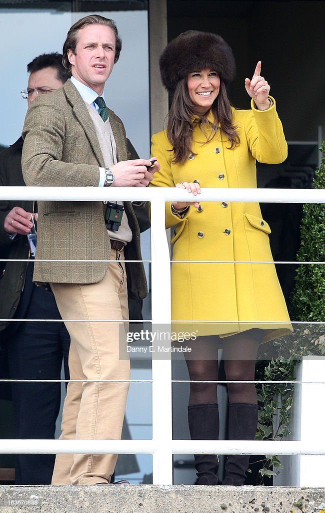 <a gi-track='captionPersonalityLinkClicked' href=/galleries/search?phrase=Pippa+Middleton&family=editorial&specificpeople=4289296 ng-click='$event.stopPropagation()'>Pippa Middleton</a> and friend Tom Kingston watch day 3 of the Cheltenham Festival at Cheltenham Racecourse on March 14, 2013 in Cheltenham, England.