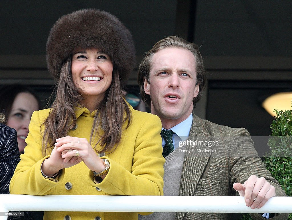 <a gi-track='captionPersonalityLinkClicked' href=/galleries/search?phrase=Pippa+Middleton&family=editorial&specificpeople=4289296 ng-click='$event.stopPropagation()'>Pippa Middleton</a> and friend Tom Kingston watch the Queens Mother Champion Steeple Chase on day 3 of the Cheltenham Festival at Cheltenham Racecourse on March 14, 2013 in Cheltenham, England.