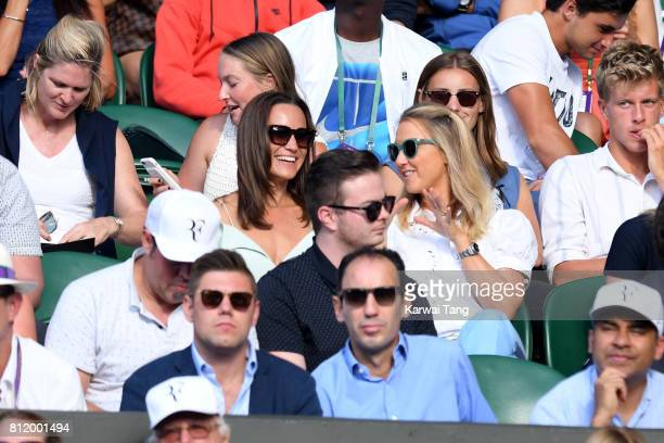Pippa Middleton and guest attend day seven of the Wimbledon Tennis Championships at the All England Lawn Tennis and Croquet Club on July 10 2017 in...