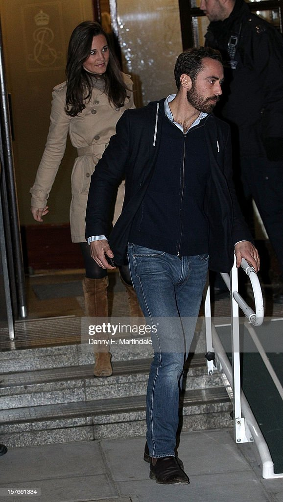 Pippa Middleton and her brother James Middleton leave King Edward VII Hospital where their sister Catherine, Duchess of Cambridge is currently undergoing care for pregnancy related issues on December 5, 2012 in London, England.
