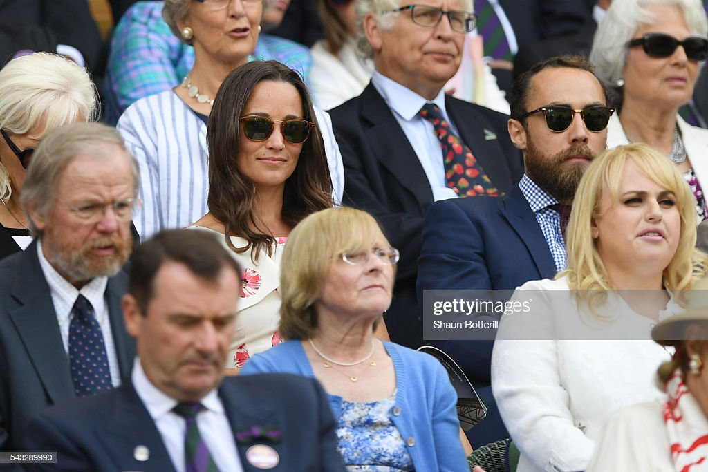 <a gi-track='captionPersonalityLinkClicked' href=/galleries/search?phrase=Pippa+Middleton&family=editorial&specificpeople=4289296 ng-click='$event.stopPropagation()'>Pippa Middleton</a> and her brother James Middleton watch on from the stands during the Men's Singles first round match between Novak Djokovic of Serbia and James Ward od Great Britain on day one of the Wimbledon Lawn Tennis Championships at the All England Lawn Tennis and Croquet Club on June 27th, 2016 in London, England.